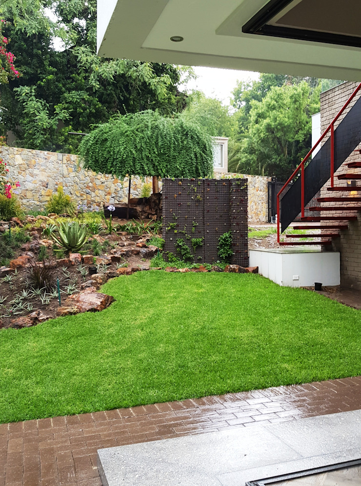 open corner in the rain with succulent wall Modern Garden by Human Voice Architects Modern