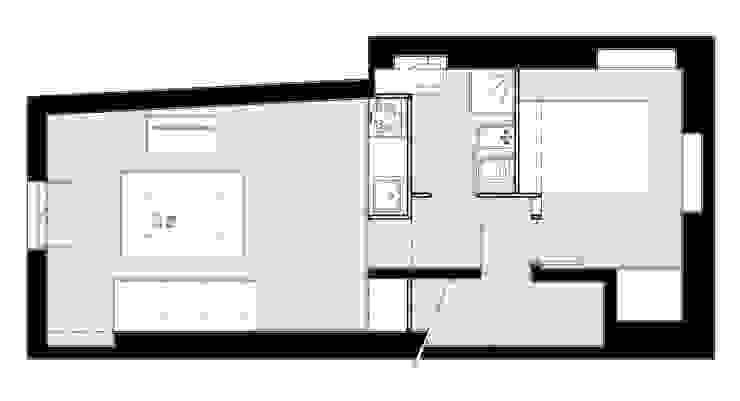 planta da proposta Salas de estar modernas por aponto Moderno Madeira Acabamento em madeira