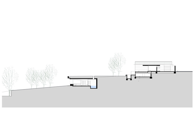 Sección por la casa y la piscina semi enterrada de SANTI VIVES ARQUITECTURA EN BARCELONA Rural