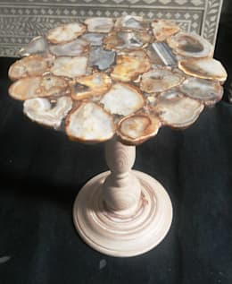 semi-precious stone side table: modern Dining room by india stone