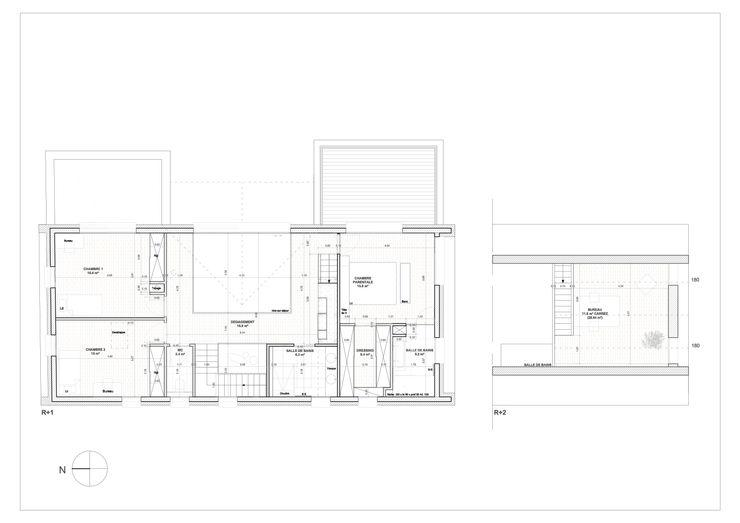 PLAN ETAGE Lionel CERTIER - Architecture d'intérieur Salle à manger moderne