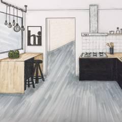 Woonkamer en keuken ontwerp:  Inbouwkeukens door Studio Room by Room