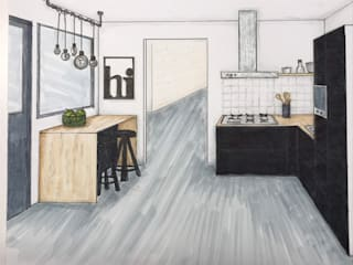 Woonkamer en keuken ontwerp van Studio Room by Room Industrieel