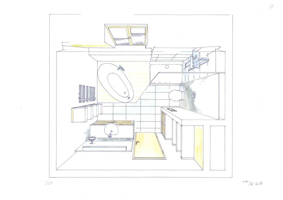 Skizze badezimmer vogelperspektive farbig: modern von ...
