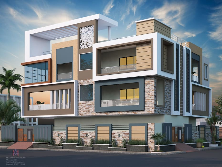 Exteriors and Architectural :  Houses by M.A Constructions,