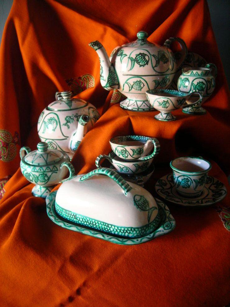 Servizio da Té ARTE DELL'ABITARE CucinaPosate, Stoviglie & Bicchieri Ceramica Turchese