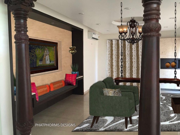 Living room -Contemporary with a Ethnic twist Phat Phorms Designs