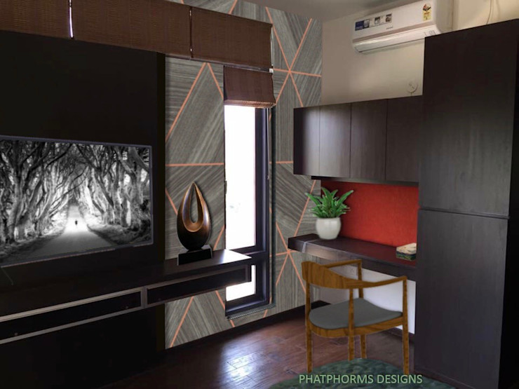 Guest room with study & TV panel Phat Phorms Designs