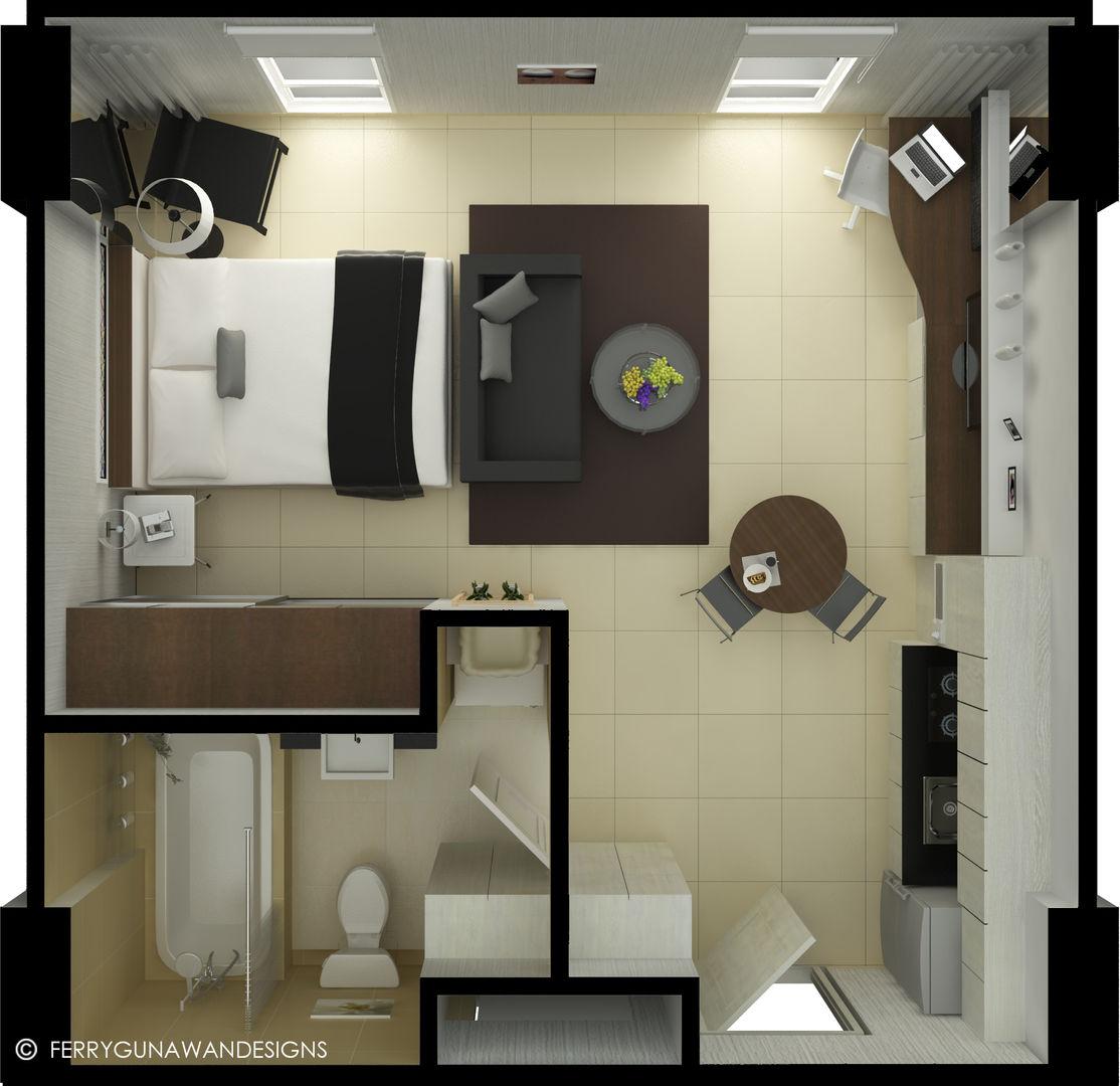 Desain Interior 2 Tipe Apartemen Studio 2 Kamar Tidur
