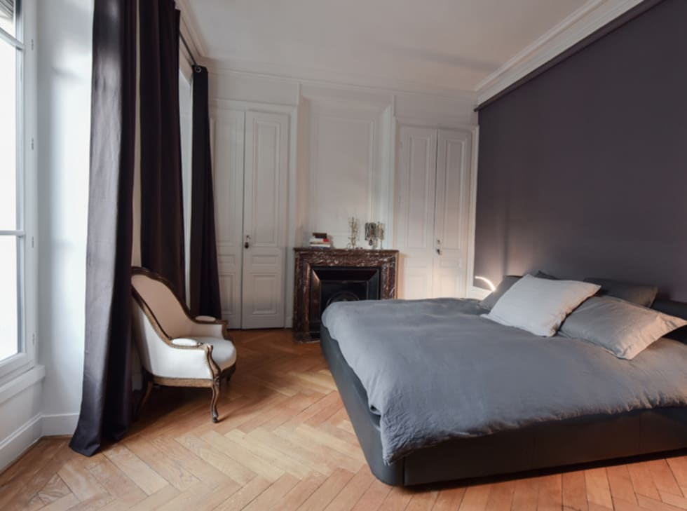 r novation d 39 un appartement haussmannien lyon 06 chambre de style de style moderne par marion. Black Bedroom Furniture Sets. Home Design Ideas
