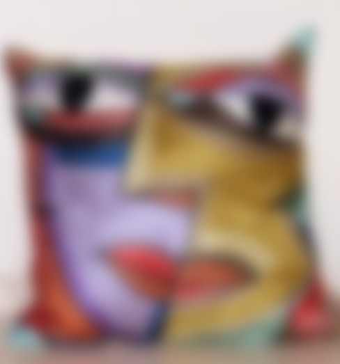 Abstract face  cushioncover:  Living room by kashmir modernart gallery
