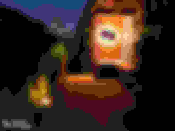 Terrace by night:  Terras door House of Green