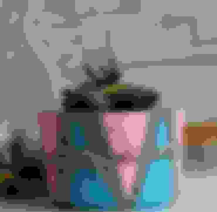 Betonica – Pembe & Mavi  El Yapımı Beton Saksı:  tarz Ev İçi