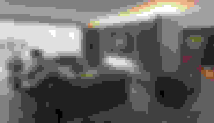 Departamento DL: Salas de estilo  por kababie arquitectos