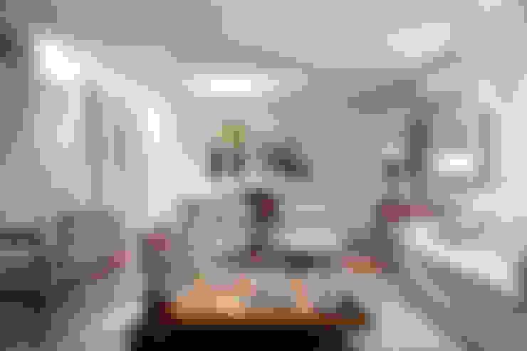 Salas integradas: estar e jantar: Salas de estar  por Angela Medrado Arquitetura + Design