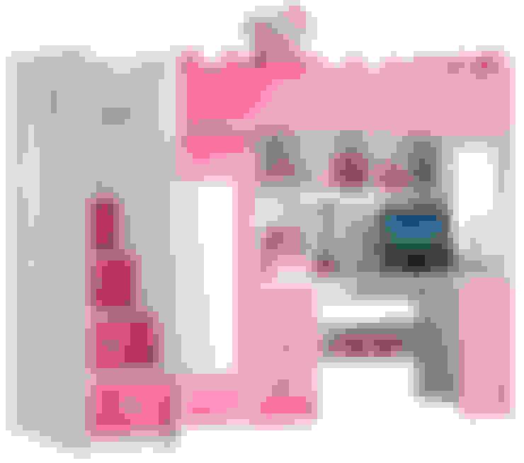 Roze hoogslaper Chica als een echt prinsessenkasteel:  Kinderkamer door JeEigenKamer.nl