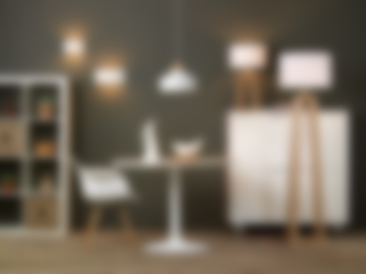 A Contemporary White and Light Pine Set:  Dining room by Shine Lighting Ltd