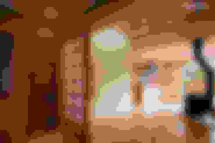 樫の木の灰を造るための薪ストーブ: アグラ設計室一級建築士事務所 agra design roomが手掛けたリビングです。