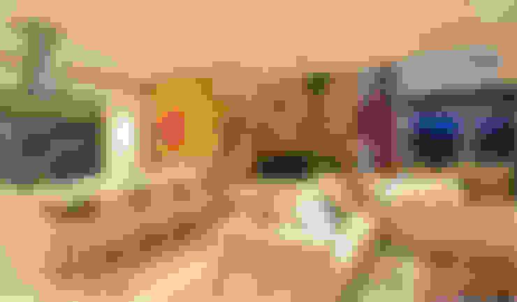 غرفة المعيشة تنفيذ ANNA MAYA ARQUITETURA E ARTE