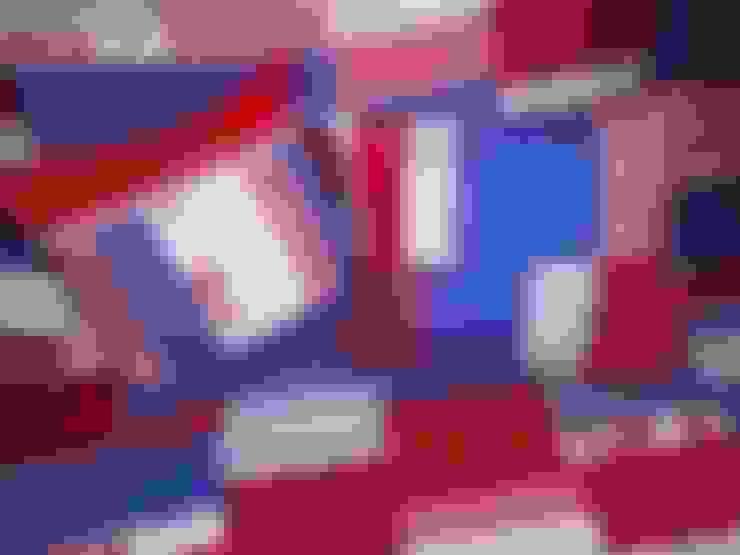 Patchworkkissen,rot,blau:  Wohnzimmer von schneiderei jerke