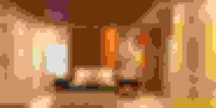 Vista de la Cabecera en melamine color Madera natural _Contacto 925389750: Dormitorios de estilo  por F9.studio Arquitectos