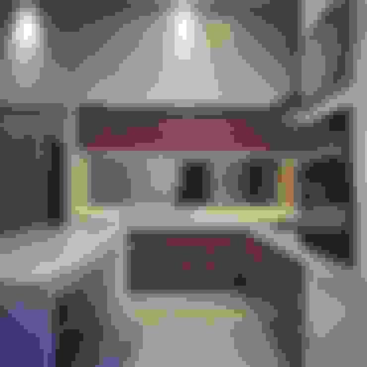 Dapur Kombinasi warna Putih dan Kayu:  Dapur by Lighthouse Architect Indonesia