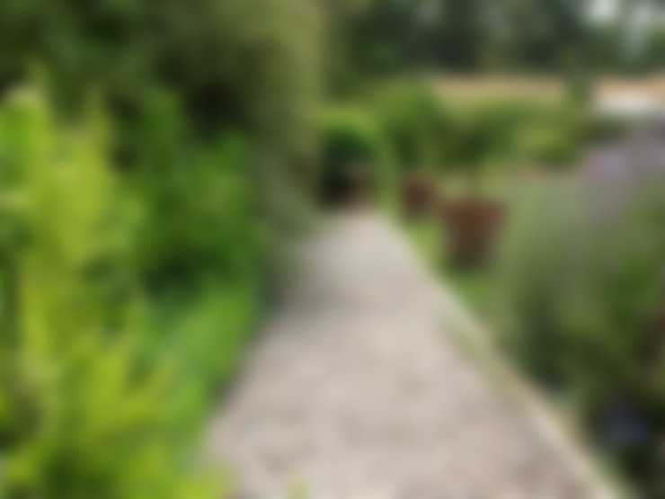 Sendero de gravilla, tipo provenzal. : Jardines de estilo  por Aliwen Paisajismo