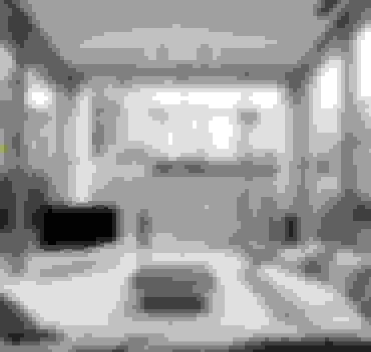 高輪台 建築家志望だった施主と協働して理想の住まいづくり House in Urban Setting 01: JWA,Jun Watanabe & Associatesが手掛けたリビングです。