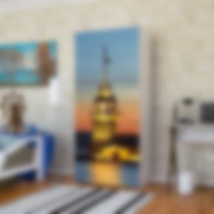 Candy Mobilyam – Kız Kulesi Resimli İki Kapaklı Gardırop:  tarz Yatak Odası
