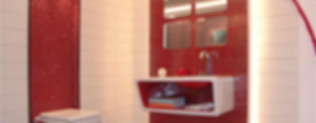 Ultra-Modern Red Washroom: modern Bathroom by home makers interior designers & decorators pvt. ltd.