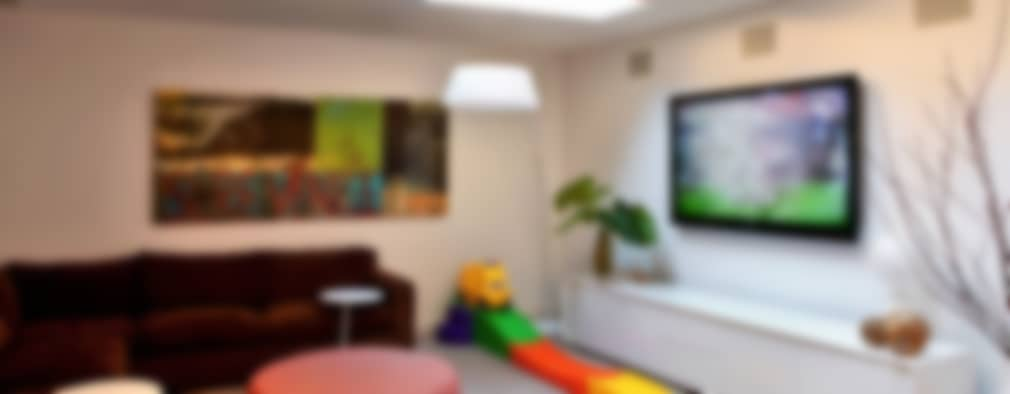 modern Media room by The Turett Collaborative