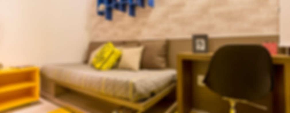 غرفة نوم تنفيذ Flávio Monteiro Arquitetos Associados