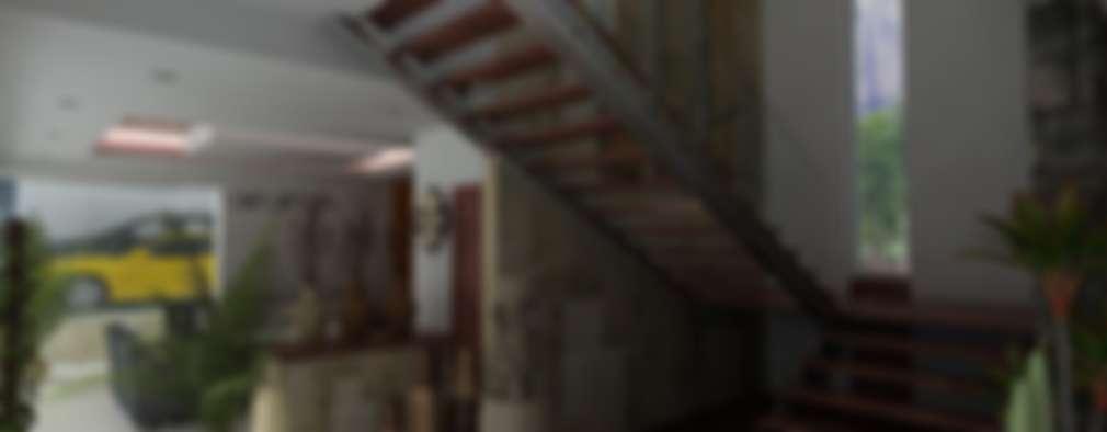 modern Corridor, hallway & stairs by OLLIN ARQUITECTURA
