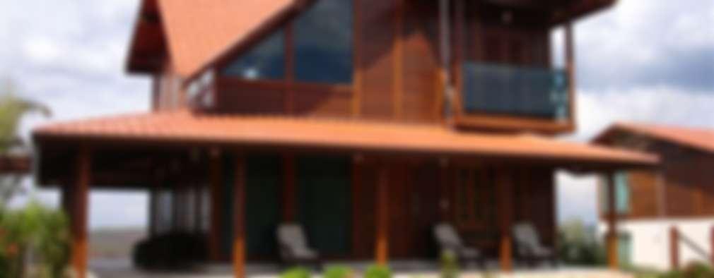 Projekty, wiejskie Domy zaprojektowane przez Bragança Casas de Madeira e Alvenaria estrutural
