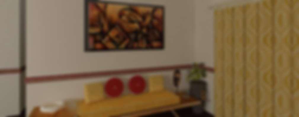 3 BHK (Trimetrix Constructions): minimalistic Living room by Kreative design studio