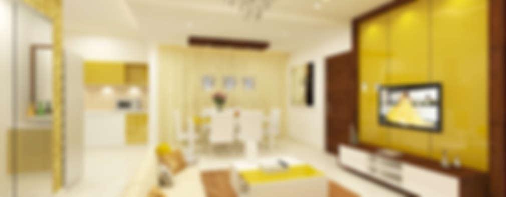 Living & Dining: modern Living room by Kredenza Interior Studios
