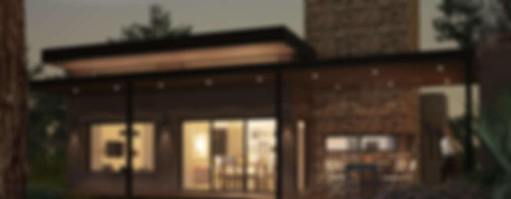 Nocturno con luces prendidas: Casas de estilo moderno por OX Render