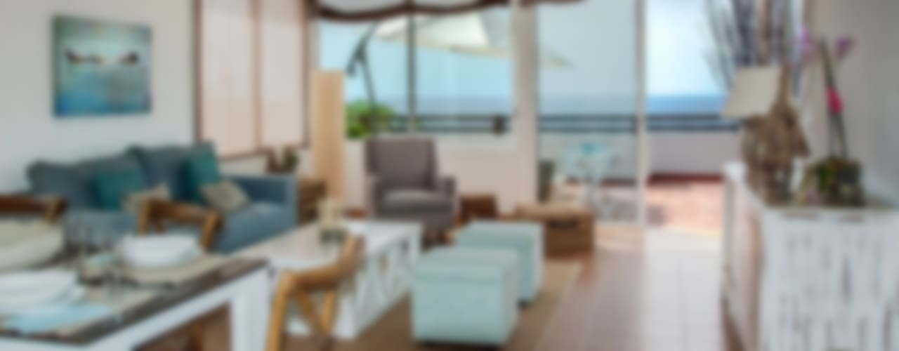 Decoración villa Salones de estilo mediterráneo de Tatiana Doria, Diseño de interiores Mediterráneo