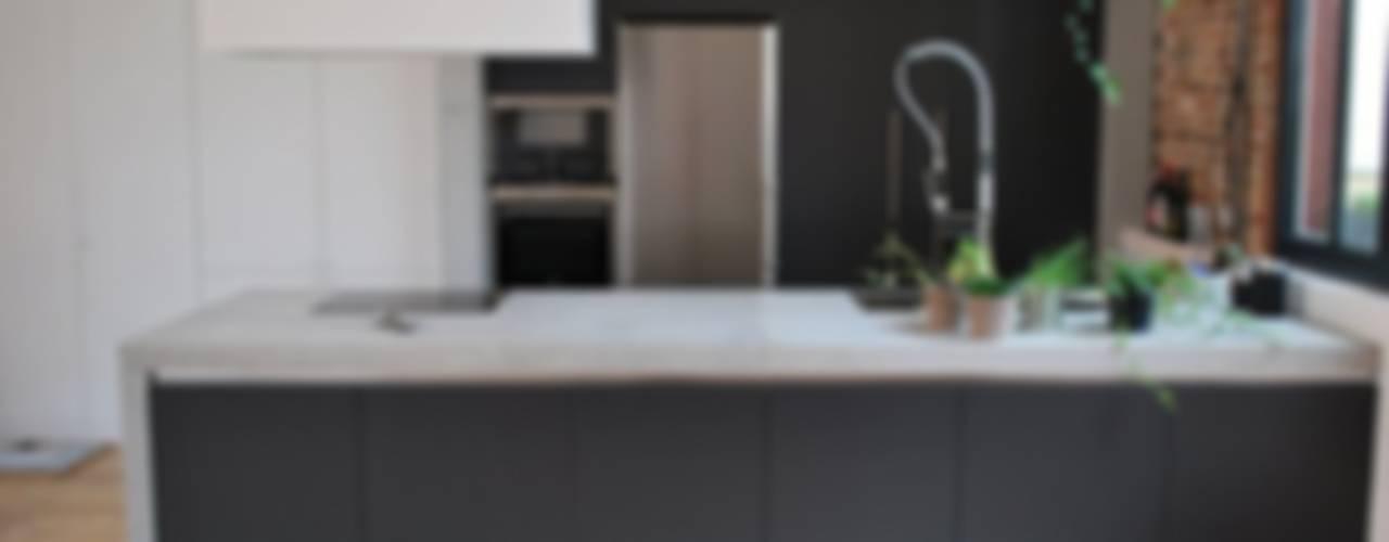 Raw Concrete Loft Kitchen Modern kitchen by Concrete LCDA Modern