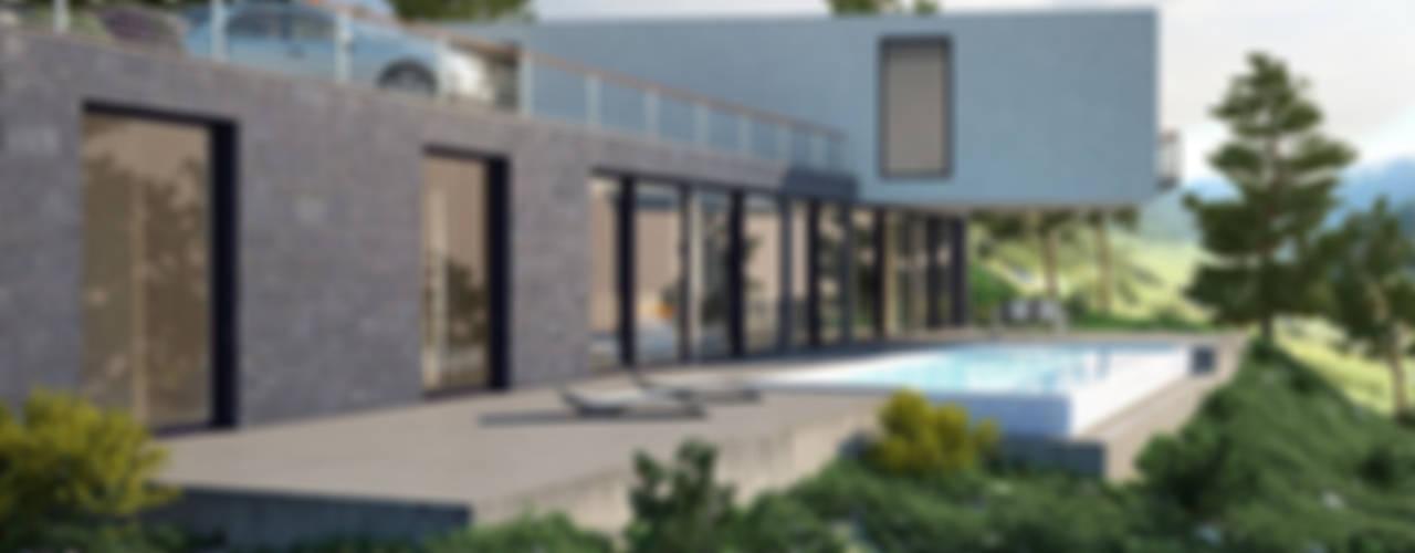 Una Vivienda de lujo en la sierra de Madrid | Proyecto de vivienda unifamiliar Casas de estilo moderno de Arquitectos Madrid 2.0 Moderno