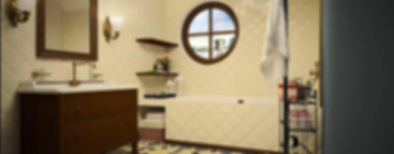 ДИЗАЙН-ПРОЕКТ ИНТЕРЬЕРОВ ВАННОЙ КОМНАТЫ В ЧАСТНОМ ДОМЕ В Г.РОСТОВЕ-НА-ДОНУ Ванная в колониальном стиле от Дизайн-студия Анны Игнатьевой Колониальный