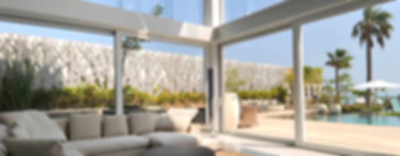 Beach Villa Baharain Soggiorno moderno di Lo Studio Mammini Candido Moderno