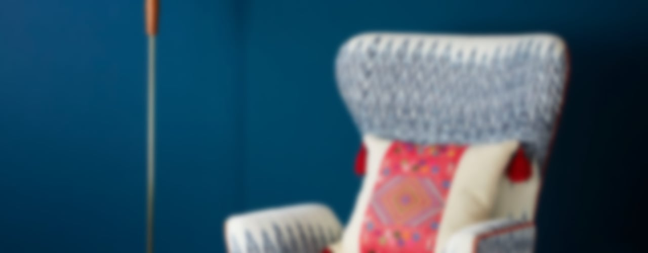 Caterina Ikat Wing Chair A Rum Fellow SalonCanapés & Fauteuils