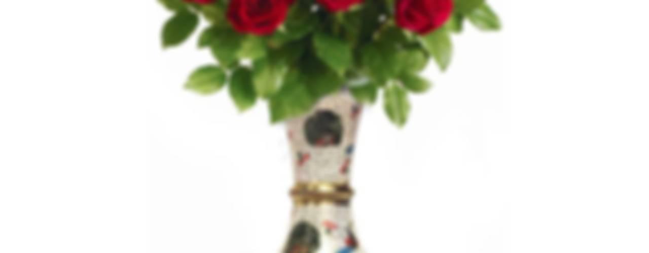 Enameled Peacock Design Brass Flower Vase: asian  by M4design,Asian