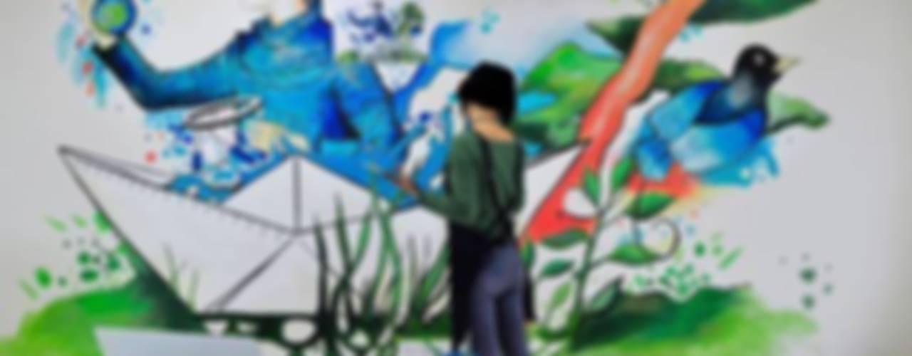 """'Healing The World' mural for """"HEXAGON Ortho"""" Modern Çalışma Odası Gamze Yalçın Studio Modern"""