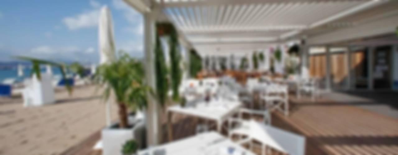 PÉRGOLAS BIOCLIMÁTICAS BIOSSUN Gastronomía de estilo moderno de DISTRIBUCIONES/JP Moderno
