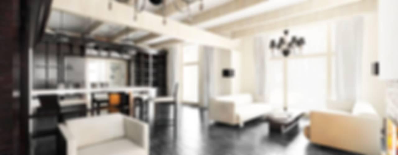 Модерн под Райта в Белоострове Гостиная в стиле модерн от АРХ студия Антона Никитина Модерн