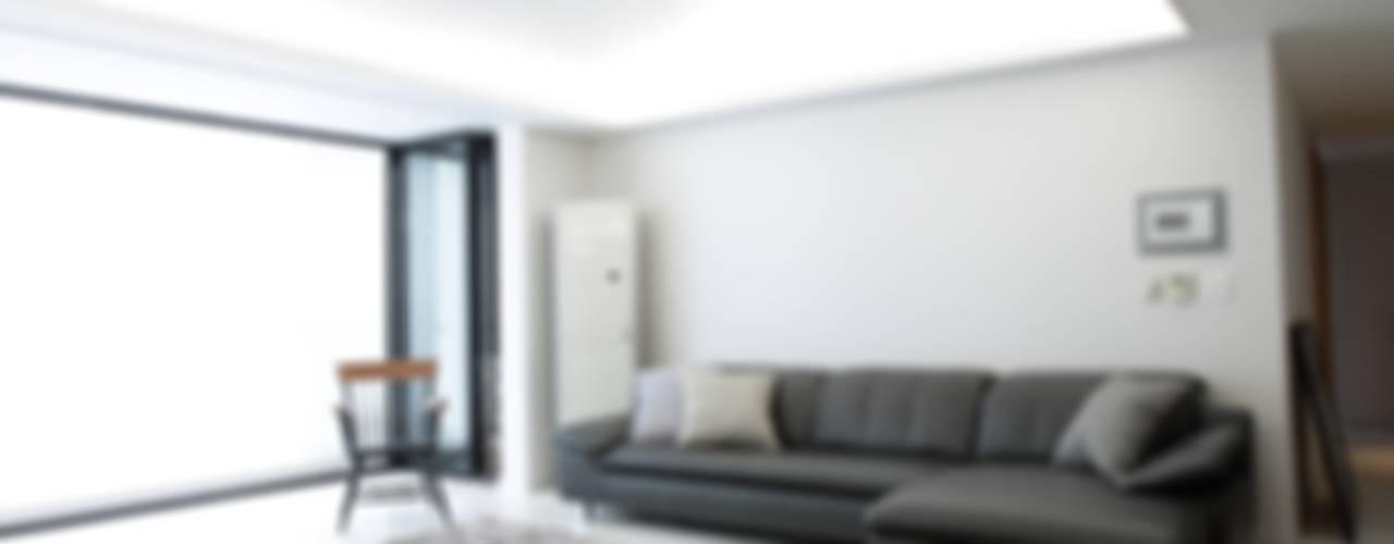 신개념 대리석마루 뉴이지스톤을 이용한 서울 동부이촌동 아파트 리모델링 모던스타일 거실 by (주)이지테크(EASYTECH Inc.) 모던