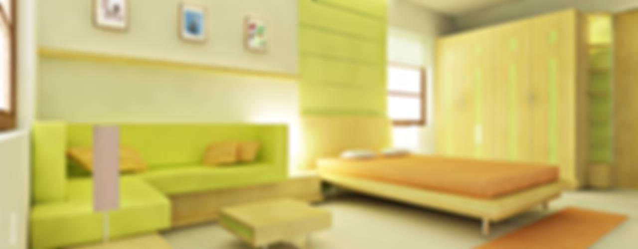 Recámaras de estilo  por Preetham  Interior Designer, Minimalista
