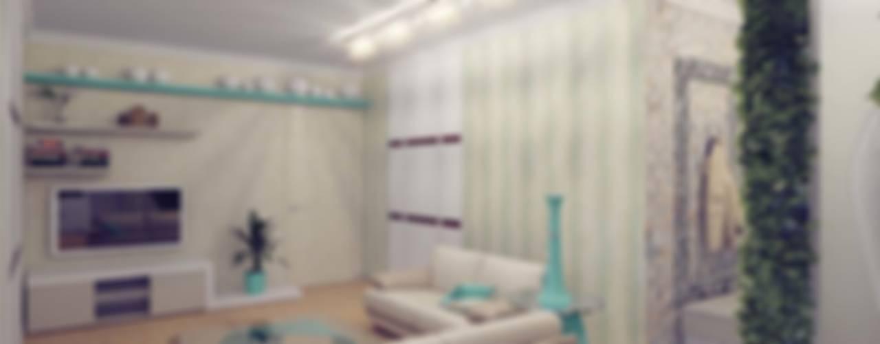 Бирюзовое очарование Студия дизайна интерьера 'Золотое сечение' Гостиная в стиле модерн